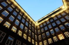 nightfall in a square.